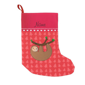 Personalized name sloth red trees small christmas stocking
