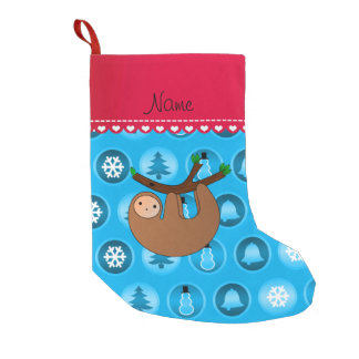 Personalized name sloth sky blue christmas circles small christmas stocking