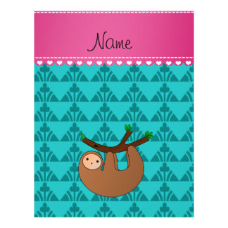 Personalized name sloth turquoise traingles 21.5 cm x 28 cm flyer