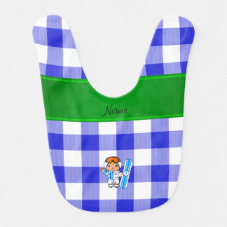 Personalized name snowboarder blue checkers baby bib