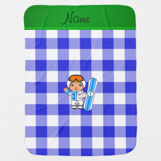Personalized name snowboarder blue checkers buggy blanket
