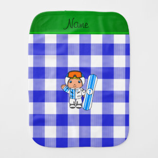 Personalized name snowboarder blue checkers burp cloths