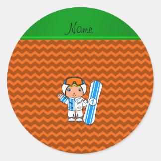 Personalized name snowboarder orange chevrons classic round sticker