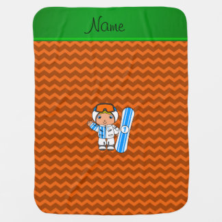 Personalized name snowboarder orange chevrons receiving blankets