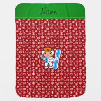 Personalized name snowboarder red snowflakes baby blanket