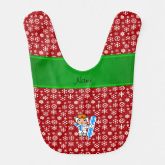 Personalized name snowboarder red snowflakes bib