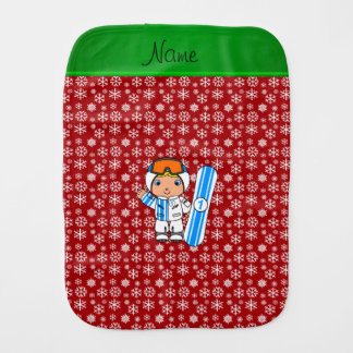 Personalized name snowboarder red snowflakes burp cloth