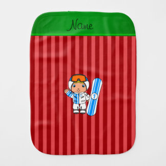 Personalized name snowboarder red stripes burp cloths