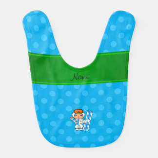 Personalized name snowboarder sky blue polka dots baby bibs