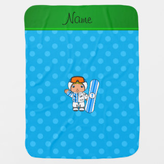 Personalized name snowboarder sky blue polka dots baby blankets