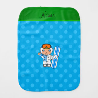 Personalized name snowboarder sky blue polka dots baby burp cloths
