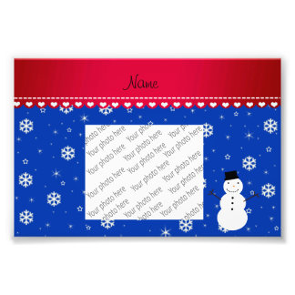Personalized name snowman blue snowflakes photo print