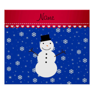 Personalized name snowman blue snowflakes posters