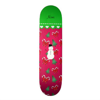 Personalized name snowman pink trees bows 19.7 cm skateboard deck
