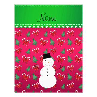 Personalized name snowman pink trees bows 21.5 cm x 28 cm flyer