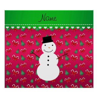 Personalized name snowman pink trees bows posters