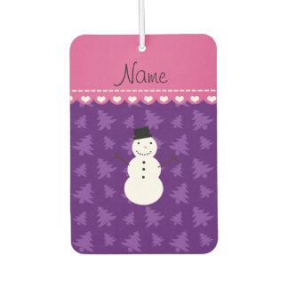 Personalized name snowman purple christmas trees