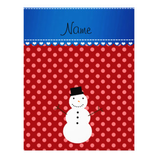 Personalized name snowman red polka dots 21.5 cm x 28 cm flyer