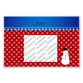Personalized name snowman red polka dots photo print