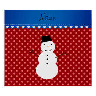 Personalized name snowman red polka dots print