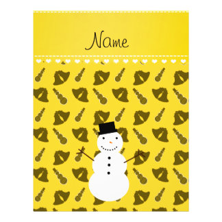 Personalized name snowman yellow bells snowmen 21.5 cm x 28 cm flyer