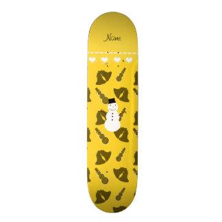 Personalized name snowman yellow bells snowmen skate board deck