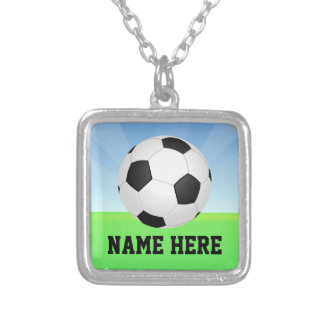Personalized Name Soccer Ball Pendant Necklace