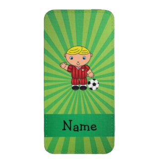 Personalized name soccer player green sunburst