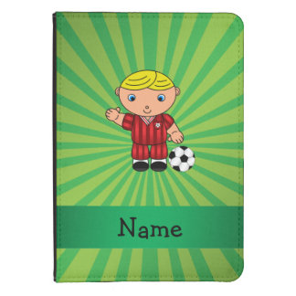 Personalized name soccer player green sunburst kindle 4 case
