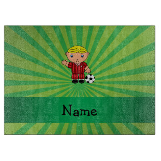 Personalized name soccer player green sunburst cutting board
