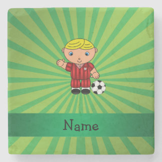 Personalized name soccer player green sunburst stone beverage coaster