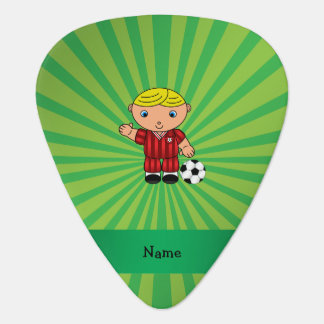Personalized name soccer player green sunburst guitar pick