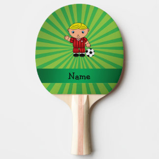 Personalized name soccer player green sunburst Ping-Pong paddle