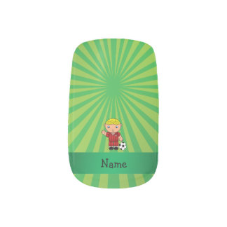 Personalized name soccer player green sunburst  	Minx® nail art