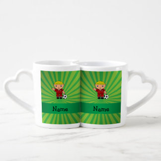 Personalized name soccer player green sunburst couple mugs