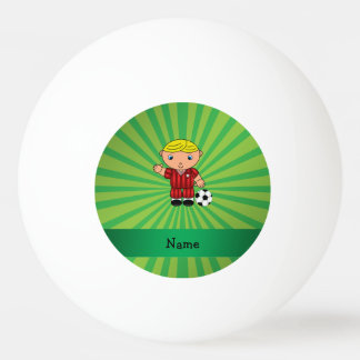 Personalized name soccer player green sunburst ping pong ball