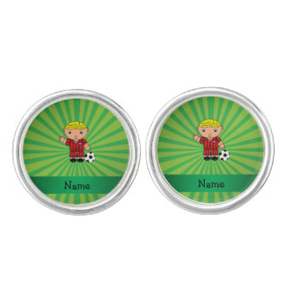 Personalized name soccer player green sunburst cufflinks
