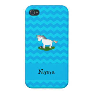 Personalized name soccer unicorn blue chevrons iPhone 4 case