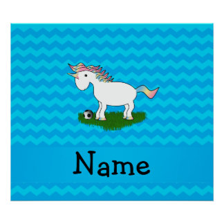 Personalized name soccer unicorn blue chevrons poster