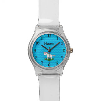 Personalized name soccer unicorn blue chevrons watch