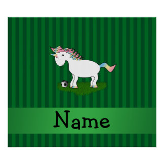Personalized name soccer unicorn green stripes print