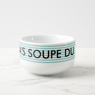 Personalized name soupe du jour mug bowl soup bowl with handle