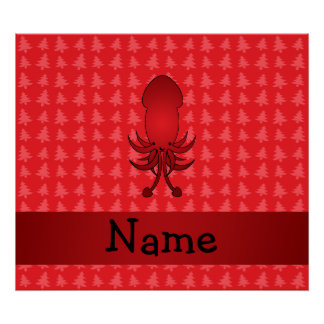 Personalized name squid red christmas trees print