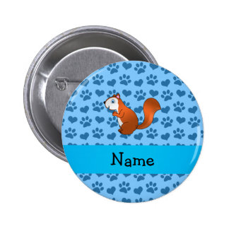 Personalized name squirrel pastel blue paws 6 cm round badge