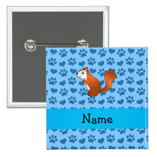 Personalized name squirrel pastel blue paws 15 cm square badge