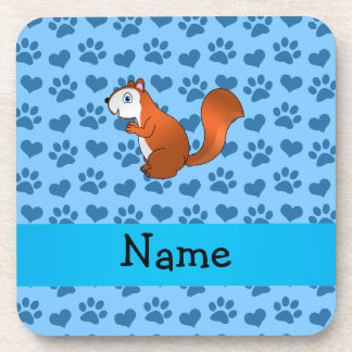 Personalized name squirrel pastel blue paws beverage coasters