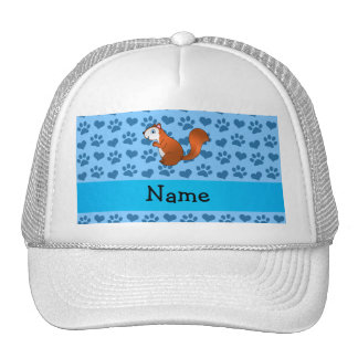 Personalized name squirrel pastel blue paws trucker hat