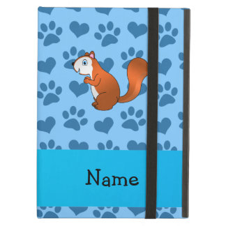 Personalized name squirrel pastel blue paws iPad case
