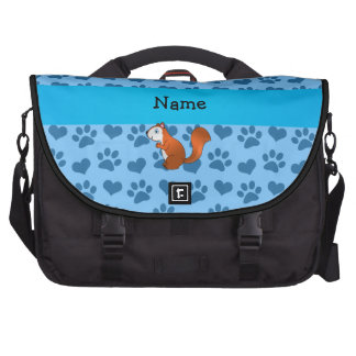 Personalized name squirrel pastel blue paws laptop computer bag