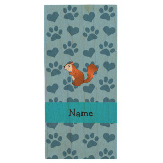 Personalized name squirrel pastel blue paws wood USB 2.0 flash drive